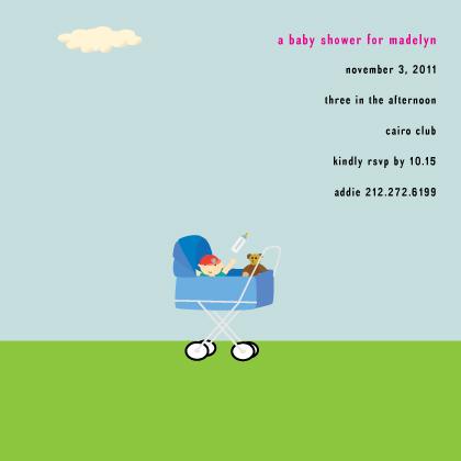 Baby Shower Invitation - stroller