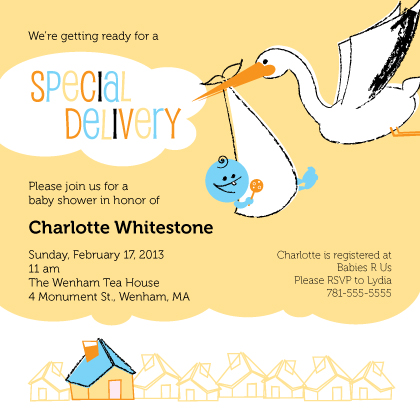 Baby Shower Invitation - Special Delivery