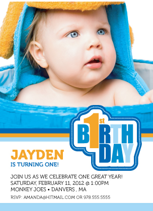 Birthday Party Invitation with photo - First Birthday Wishes