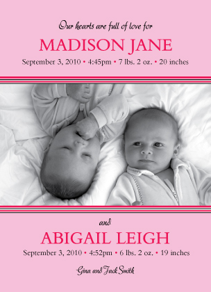 Multiples Birth Announcement with photo - Baby Monostripe