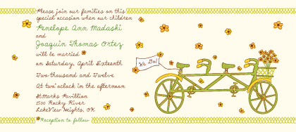 Wedding Invitation - Bicycle built for Two