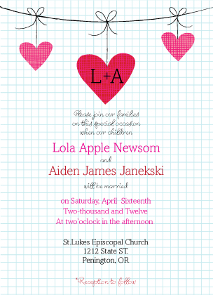 Wedding Invitation - Modern Hanging Hearts Monogram Wedding Collection
