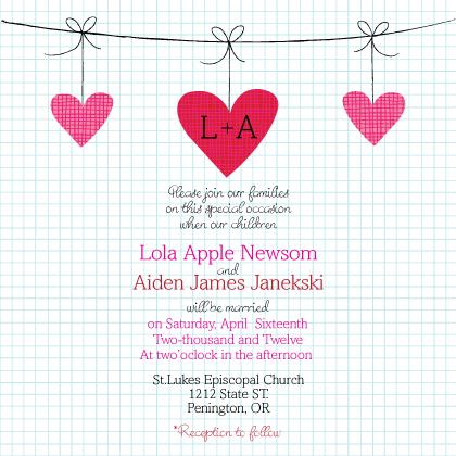 Wedding Invitation - Modern Hanging Hearts Monogram Wedding Collection