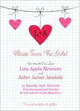 Save the Date Card - modern hanging hearts monogram wedding collection