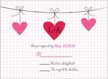 Response Card - modern hanging hearts monogram wedding collection