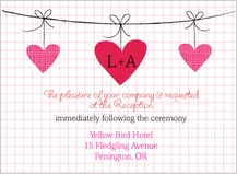 Reception Card - modern hanging hearts monogram wedding collection