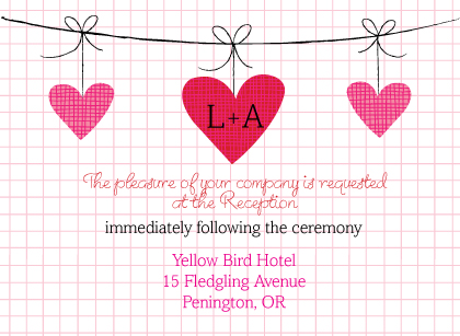 Reception Card - Modern Hanging Hearts Monogram Wedding Collection