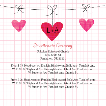 Direction - Modern Hanging Hearts Monogram Wedding Collection