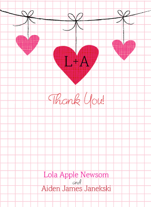 Wedding Thank You Card - Modern Hanging Hearts Monogram Wedding Collection