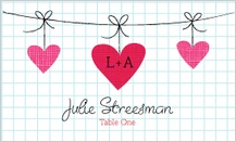 Place Card - modern hanging hearts monogram wedding collection
