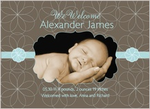 Birth Announcement with photo - simple blue baby boy