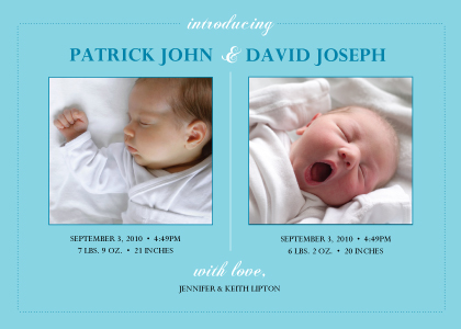 Multiples Birth Announcement with photo - Elegant Arrival