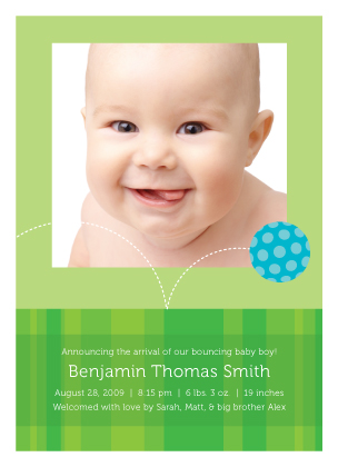 Birth Announcement with photo - Baby Ball