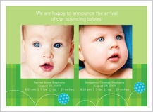 Multiples Birth Announcement with photo - baby ball