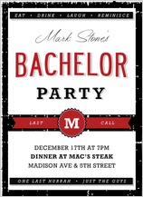 Bachelor Party Invitation - boys night out