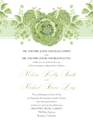 Wedding Invitation - Roses and Ribbon