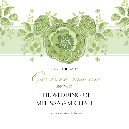 Save the Date Card - Roses and Ribbon