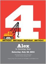 Birthday Party Invitation - crane construction birthday