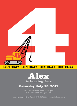 Birthday Party Invitation - Crane construction birthday