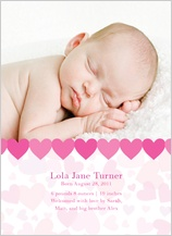 Birth Announcement with photo - heart shower