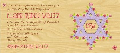 Bat Mitzvah Party Invitation - Doodle Floral Star Monogram Bat Mitzvah Invite