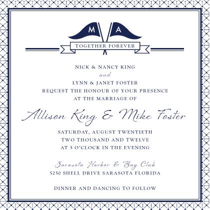 Wedding Invitation - Nautical Inspired Wedding