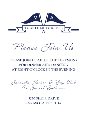 Reception Card - Nautical Inspired Wedding