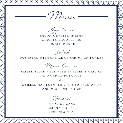 Menu - Nautical Inspired Wedding