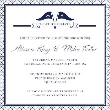 Nautical Inspired Wedding Wedding Shower Invitation Look Love Send