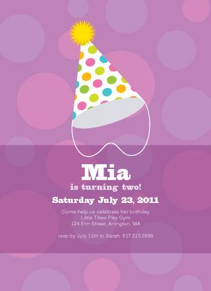 Birthday Party Invitation - Party hat