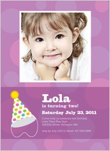 Birthday Party Invitation with photo - party hat