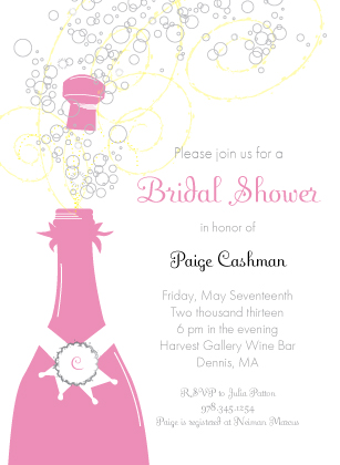 Wedding Shower Invitation - Pop The Champagne!