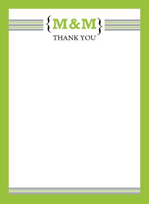 Wedding Thank You Card - Modern Monogram