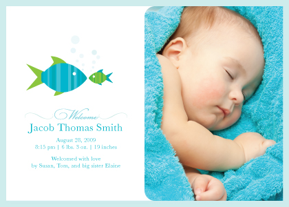 Birth Announcement with photo - Fishies