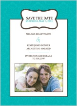 Save the Date Card with photo - traditional monogram