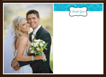 Wedding Thank You Card with photo - Traditional Monogram