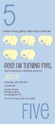 Birthday Party Invitation - Counting Card 5
