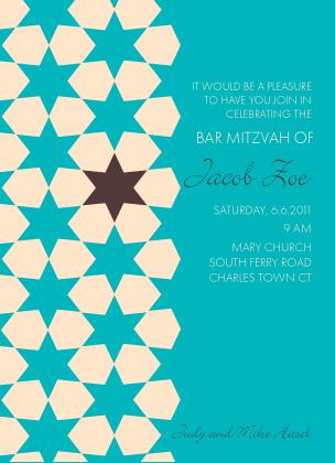 Bar Mitzvah Party Invitation - Starry Net