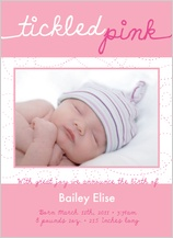 Birth Announcement with photo - tickled pink
