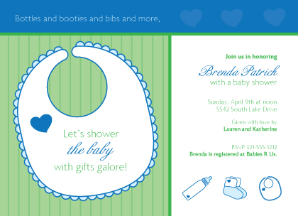 Baby Shower Invitation - Heart and Stripes