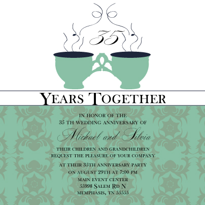 Tea cup anniversary anniversary party invitation look love send anniversary party invitation tea cup anniversary stopboris Gallery