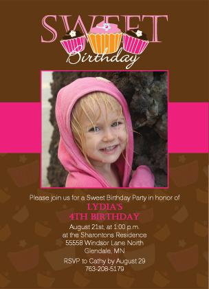 Birthday Party Invitation with photo - Sweet Brithday