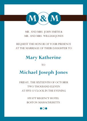 Wedding Invitation - Monogram Circles
