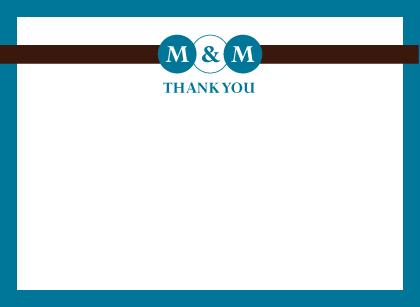 Wedding Thank You Card - Monogram Circles