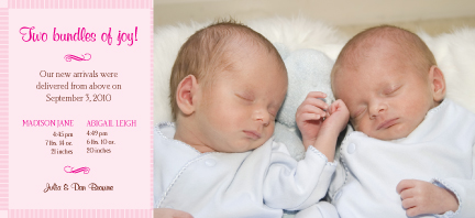 Multiples Birth Announcement with photo - Flourish