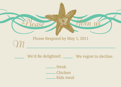 Response Card with menu options - Beach Love