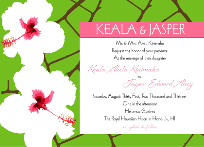 Wedding Invitation - Modern Hibiscus