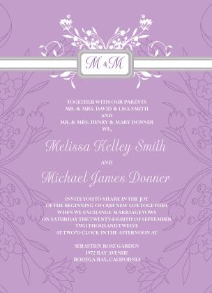 Wedding Invitation - Monogram Scroll