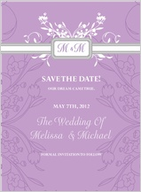Save the Date Card - monogram scroll