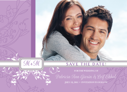 Save the Date Card with photo - Monogram Scroll
